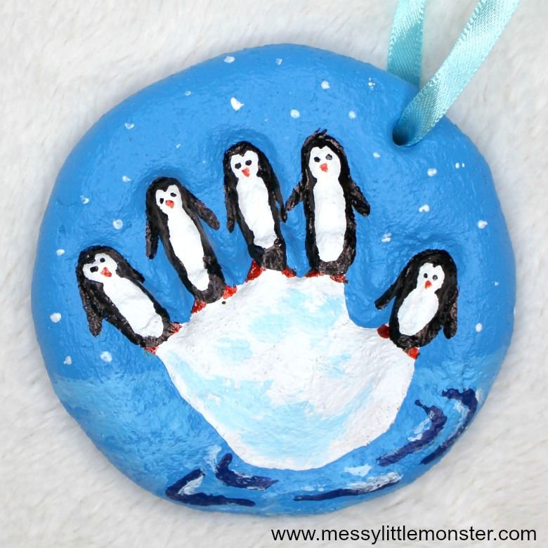 salt dough ornaments - penguin salt dough handprint ornament - penguin craft