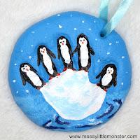 salt dough handprint ornament - penguin craft for kids