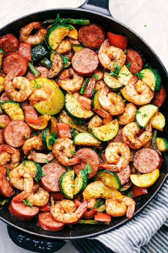 Cajun Shrimp And Sausage Vegetable Skillet