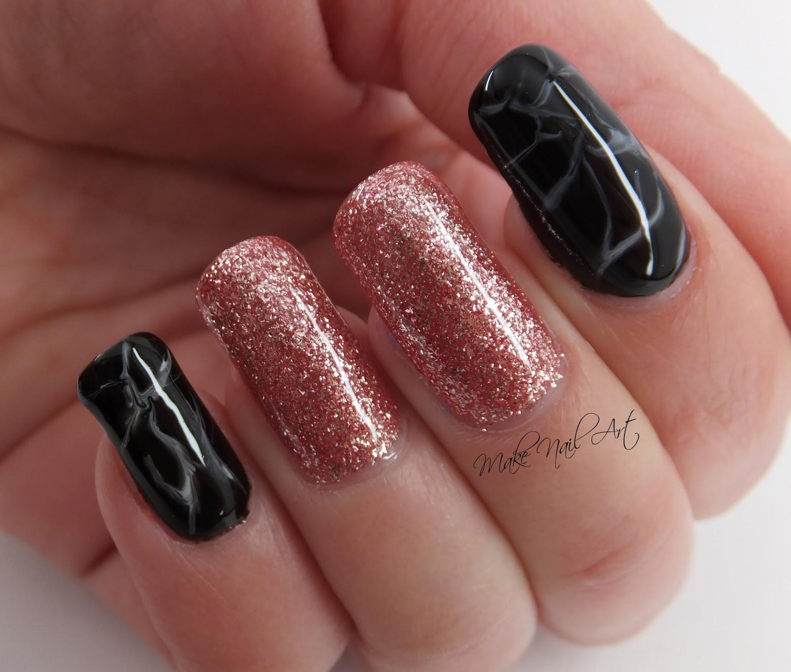 Make Nail Art Rose Gold Glitter And Marble Gel Polish Nails Nail