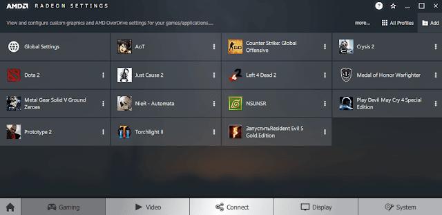 amd radeon adrenalin - menu gaming