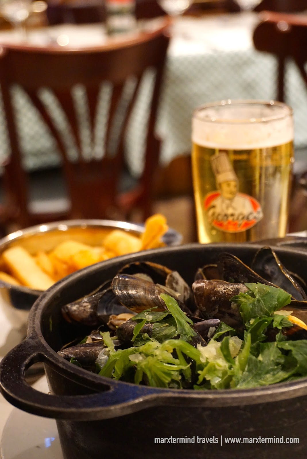 Beer, fries and mussels at Chez Leon
