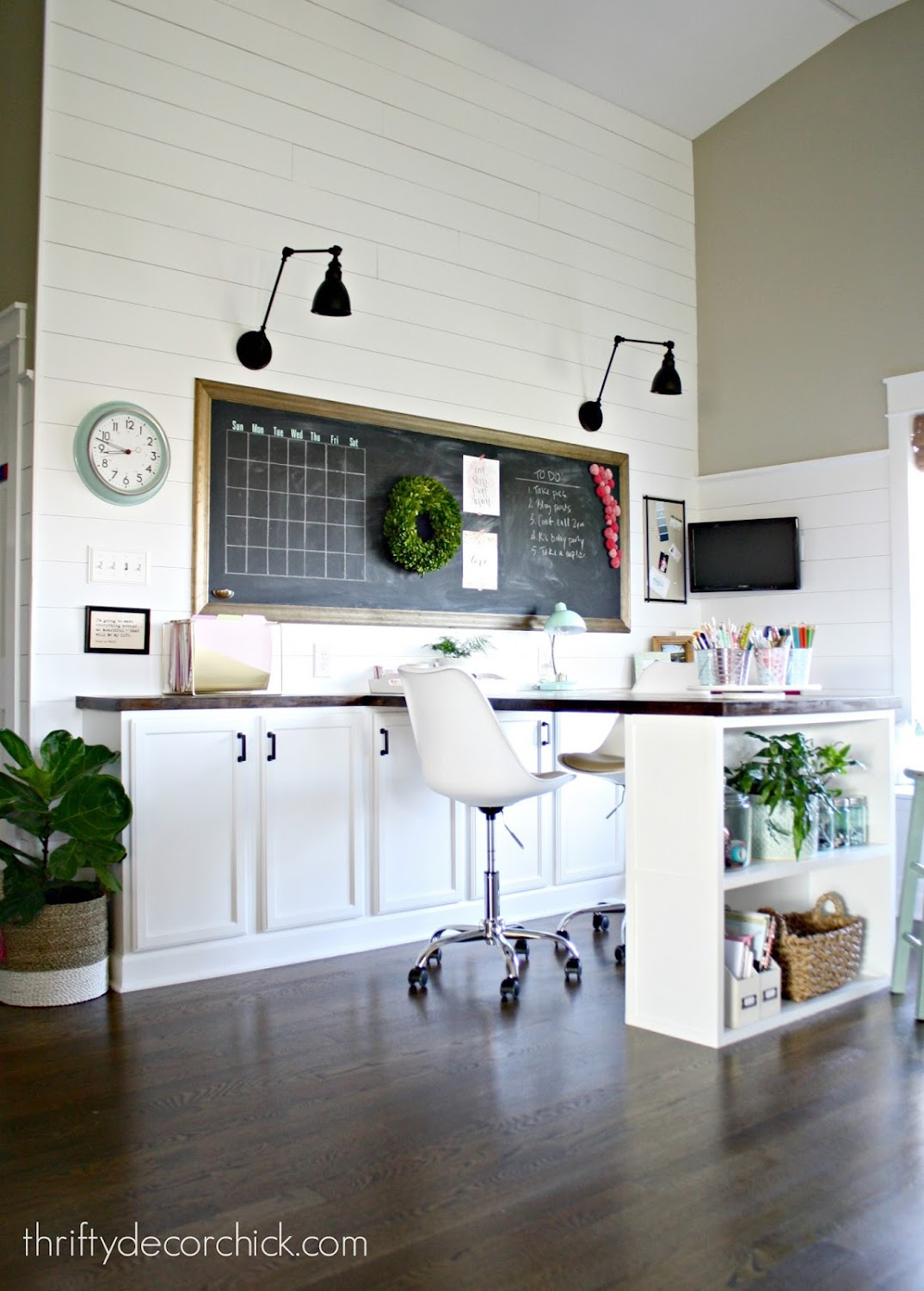 large DIY craft table with storage