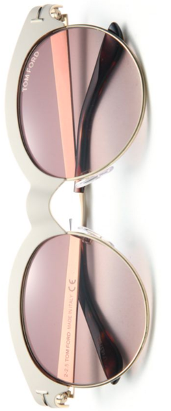 Tom Ford Eyewear Angela 53MM Round Metal Sunglasses