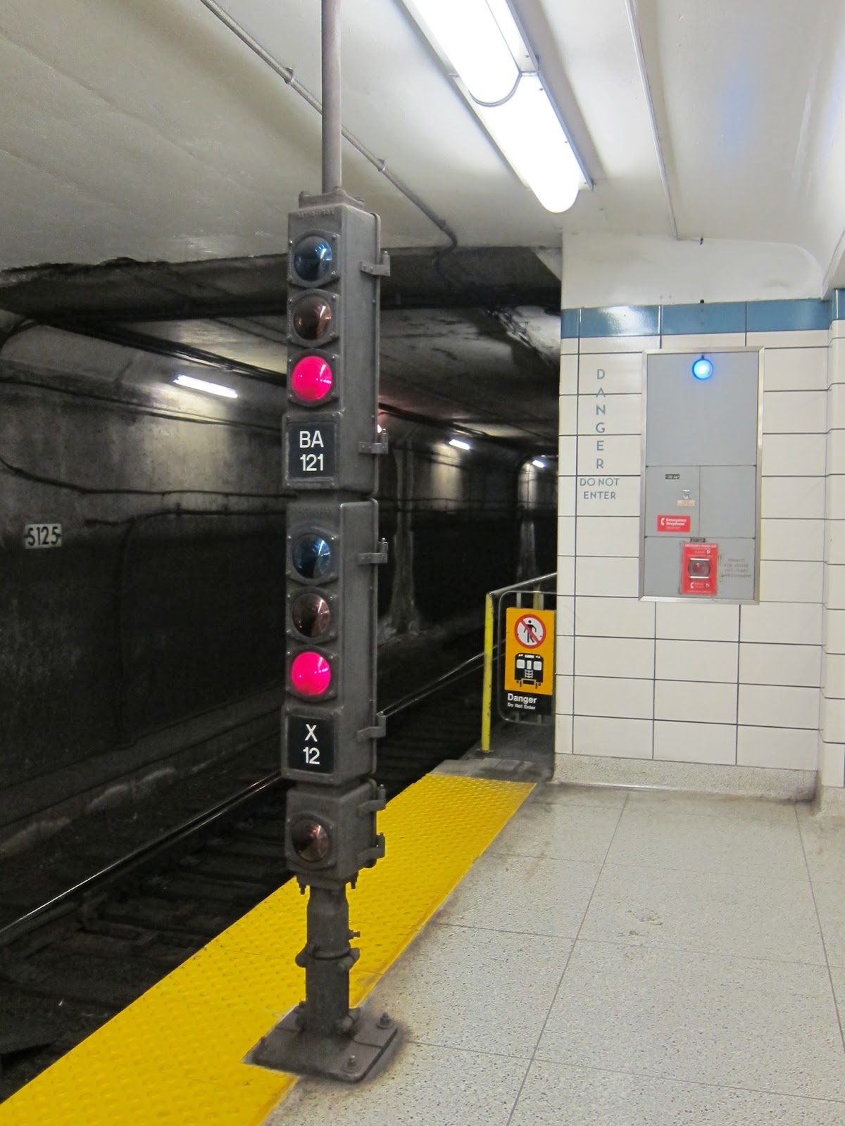 Subway signal at Islington station platform