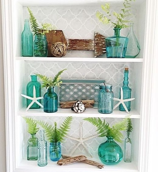 Coastal Shelf Decor Styling Idea with Glass Vases