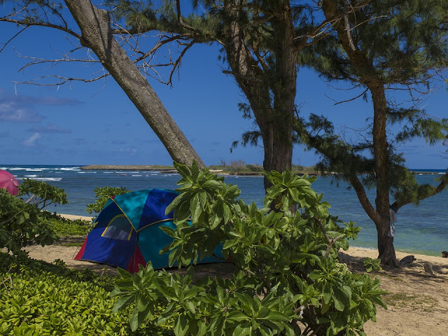 Beach camping on Oahu