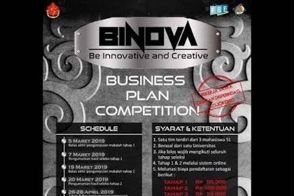 Lomba Business Plan Nasional BINOVA 2019 Mahasiswa