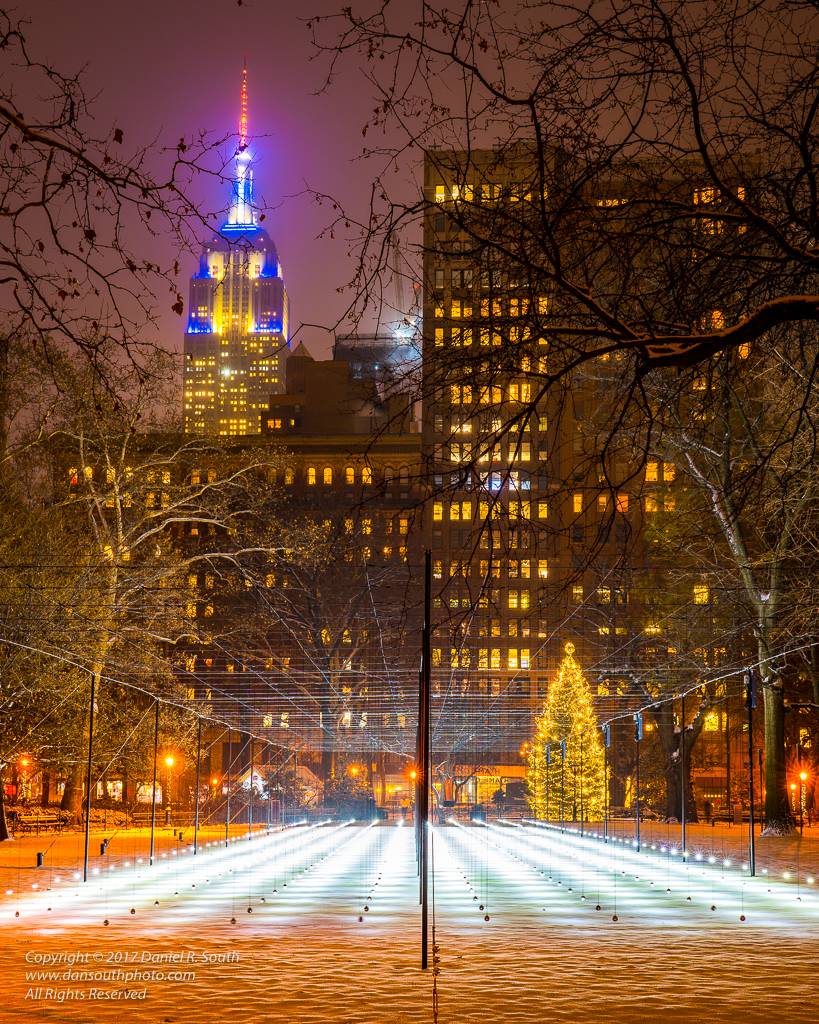 a photo of an artistic light show in madison square park new york