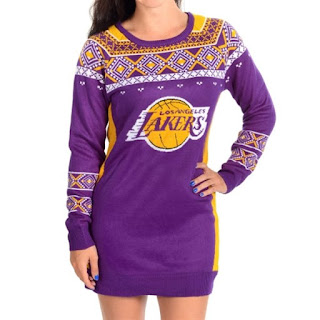 women's ugly nba sweater dresses, ugly lakers christmas sweater dress, lakers sweater dress, los angeles lakers sweater dress