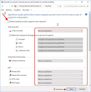 Disattivare AutoPlay Windows 10 - Pannello di Controllo