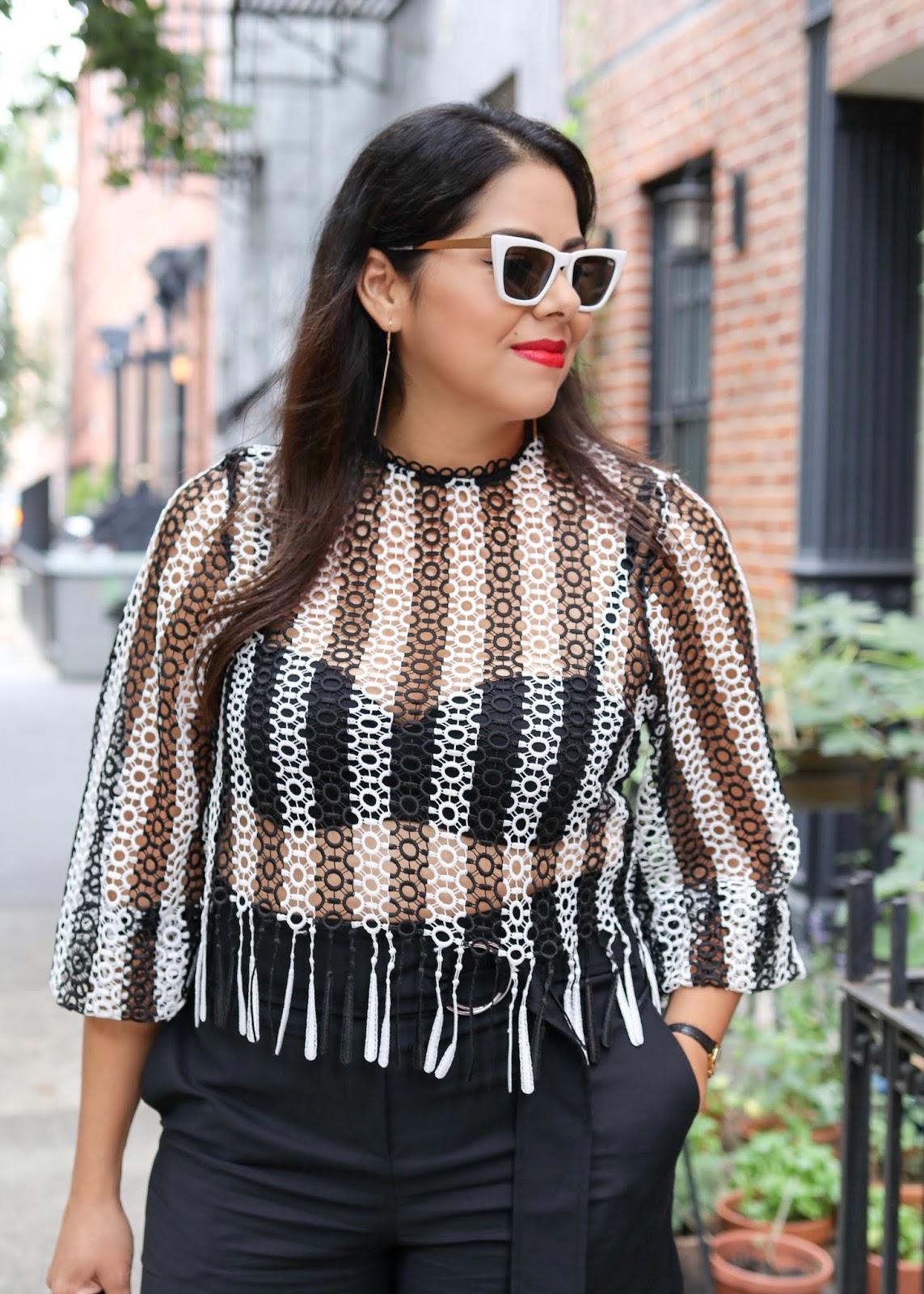 Quay white sunglasses, top shop black and white crochet top, statement sunglasses