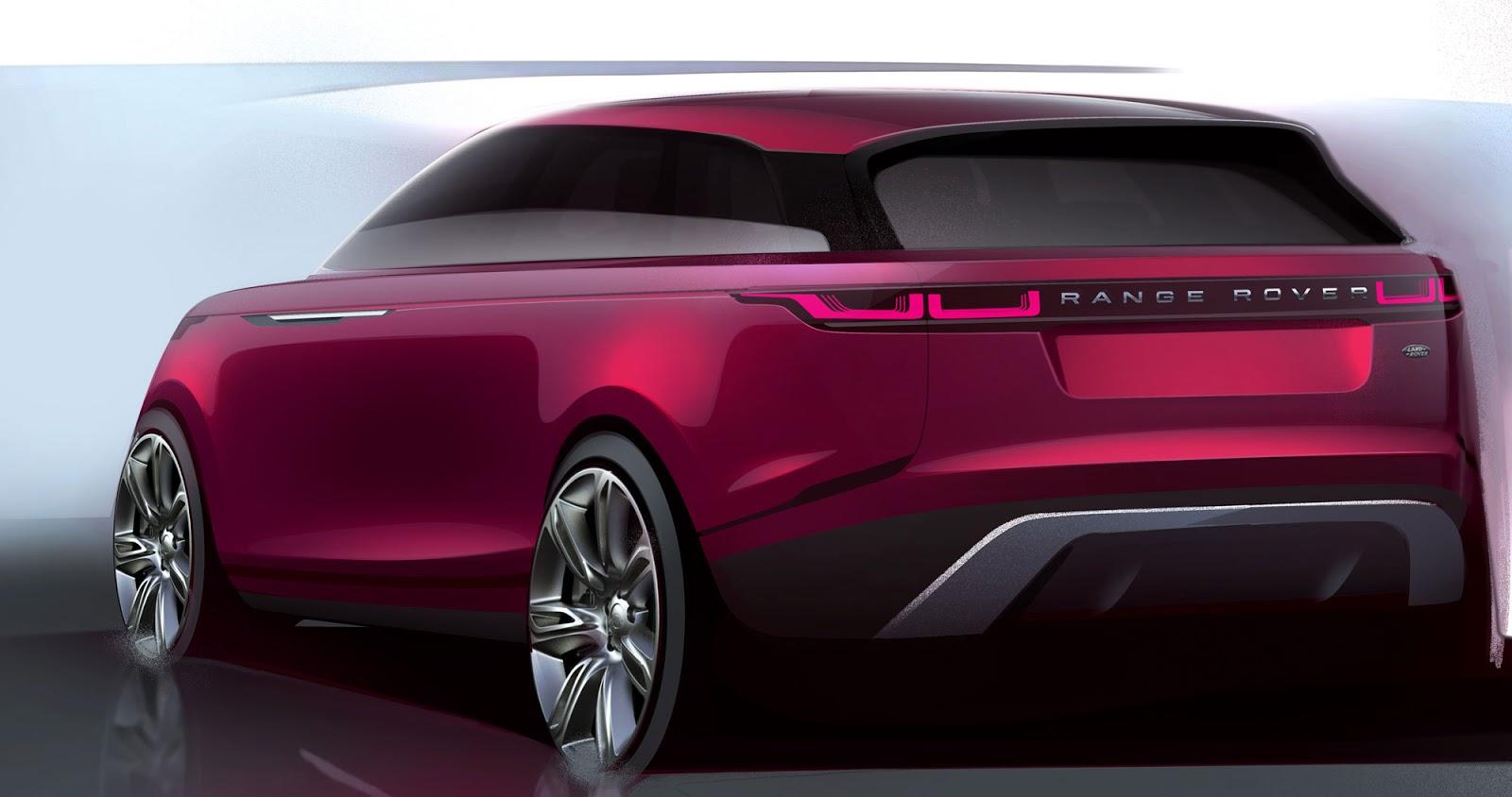 Range Rover Velar sketch rear quarter view in fuscia