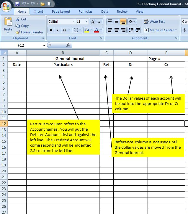 The General Journal  General Ledger Accounting - An Introduction - business ledger example