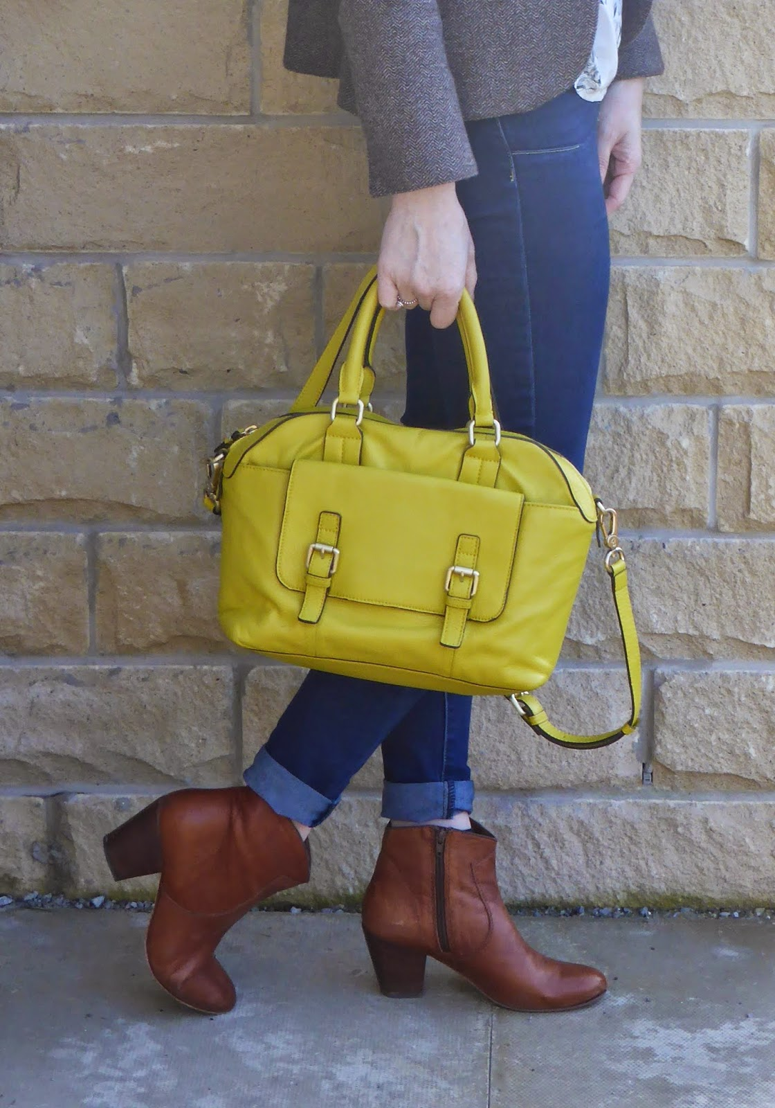 Yellow Boden Bowling bag. Tan leather ankle boots