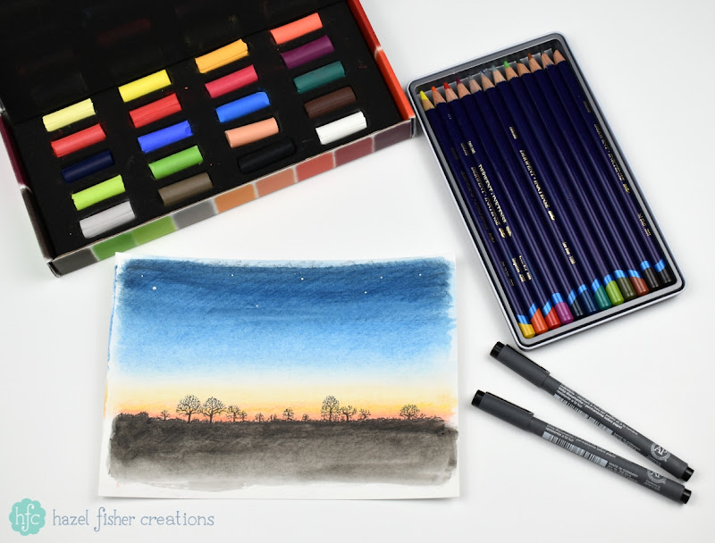 Cass Art #BeInspired Campaign - What Inspires you? Winter Sunset by Hazel Fisher Creations drawn with soft pastels, Inktense pencils and fineliner pens
