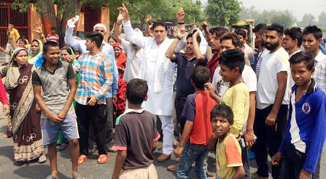 lalit-nagar-mla-agitation-tigaon-faridabad-for-water