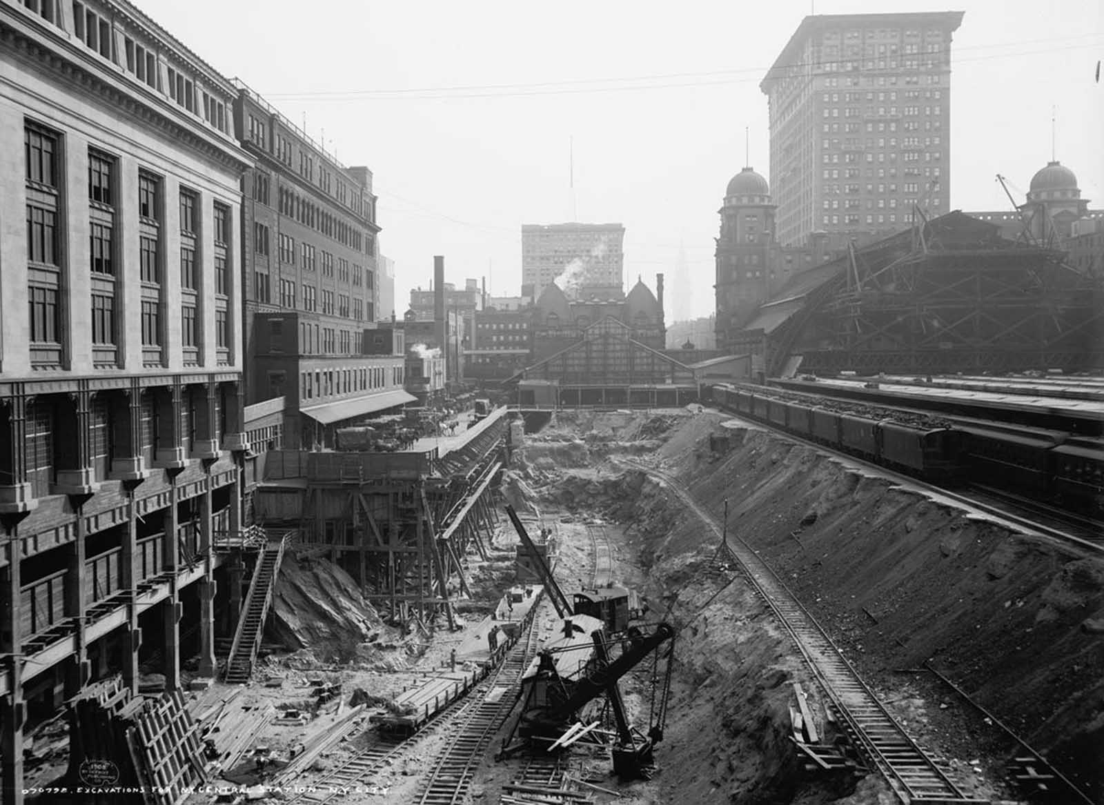 Excavation work at the site of Grand Central Station in New York City, in 1908.