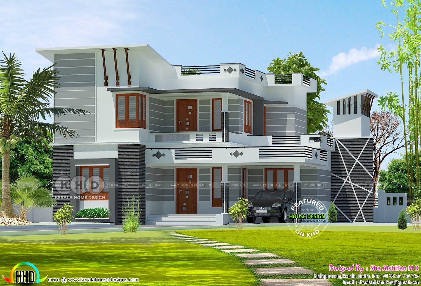 Decorative Style 1700 Square Feet Modern Home Kerala