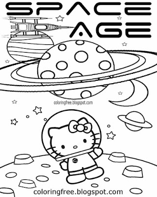 Free girls printable cartoon solar system planets space age picture easy Hello Kitty coloring sheet
