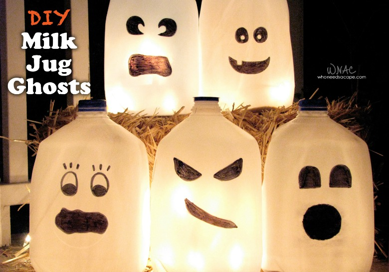 Milk jug ghosts by who needs a cape - Ghost crafts for kids