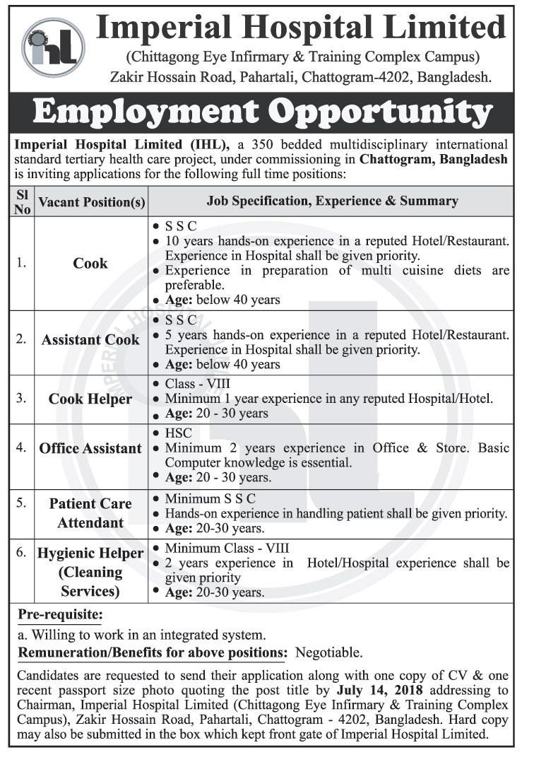 Imperial Hospital Limited (IHL) Job Circular 2018