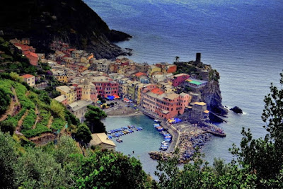 Cinque Terre village of Vernazza from above.
