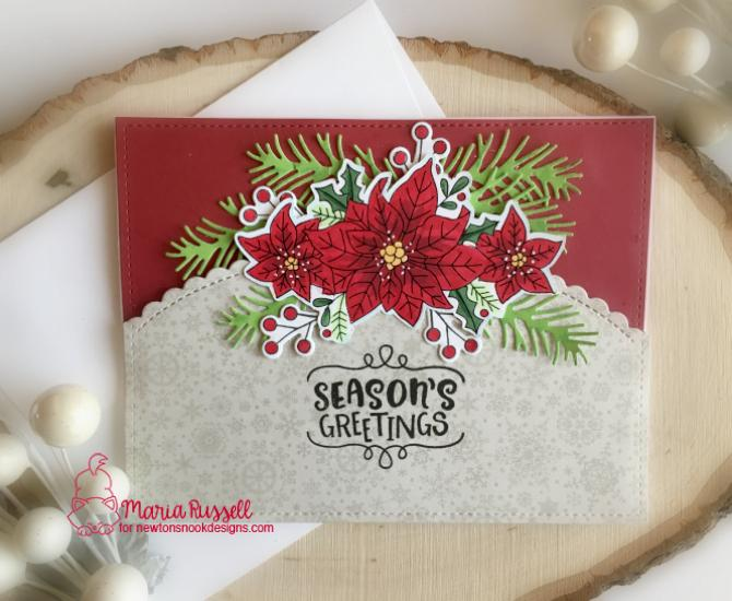 Poinsettia Card by Maria Russell | Poinsettia Blooms Stamp Set and Pines & Holly Die Set by Newton's Nook Designs #newtonsnook #handmade