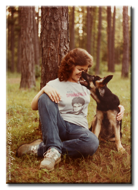 M. K. Clinton with German Shepherd dog