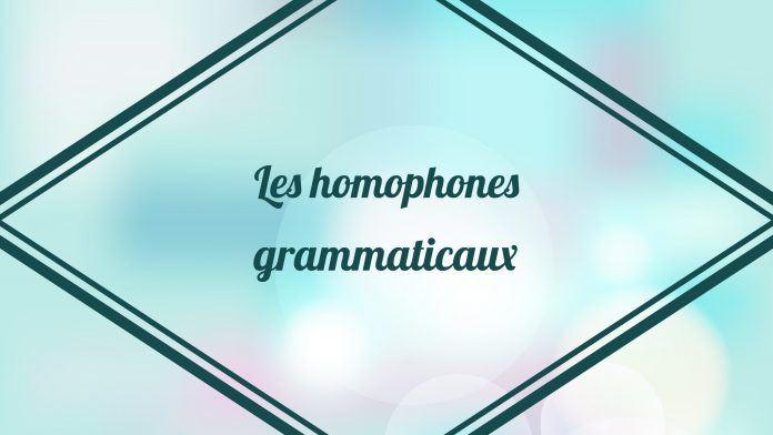 Les homophones grammaticaux - cours de français sur les homophones grammaticaux