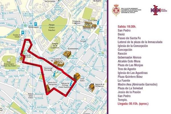 Itinerario de la Procesión Extraordinaria de María Santísima del Refugio de Huelva. Tendrá lugar el próximo 4 de Mayo