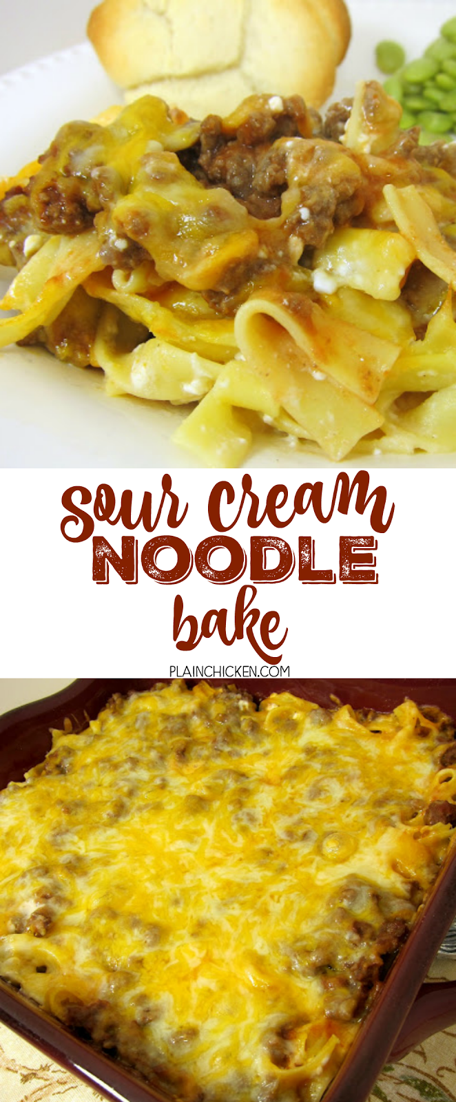 Sour Cream Noodle Bake - ready in under 30 minutes! Egg noodles, hamburger, tomato sauce, cottage cheese, sour cream and cheddar cheese. Comfort food at its best! Everyone loves this easy casserole! Can make ahead of time and refrigerate or freeze for later. YUM!