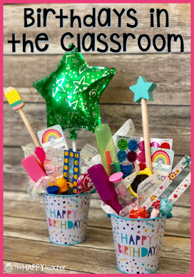 Photo of birthday buckets- A special way to celebrate students' birthdays at school