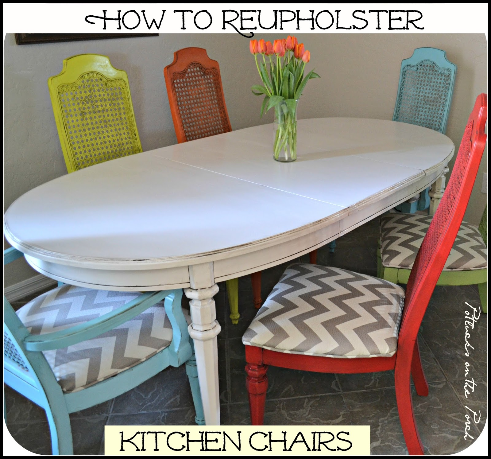 how to reupholster a dining room chair with piping | Potlucks on the Porch: How to Reupholster Kitchen Chairs ...