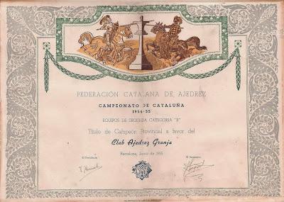 Diploma de Campeón de 2ª Categoría B del Club Ajedrez Granja