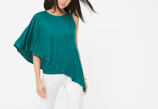 White House Black Market Cape Sleeve Asymmetric Top. Favourite off the shoulder fashion style