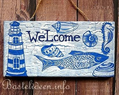 decoupage welcome sign