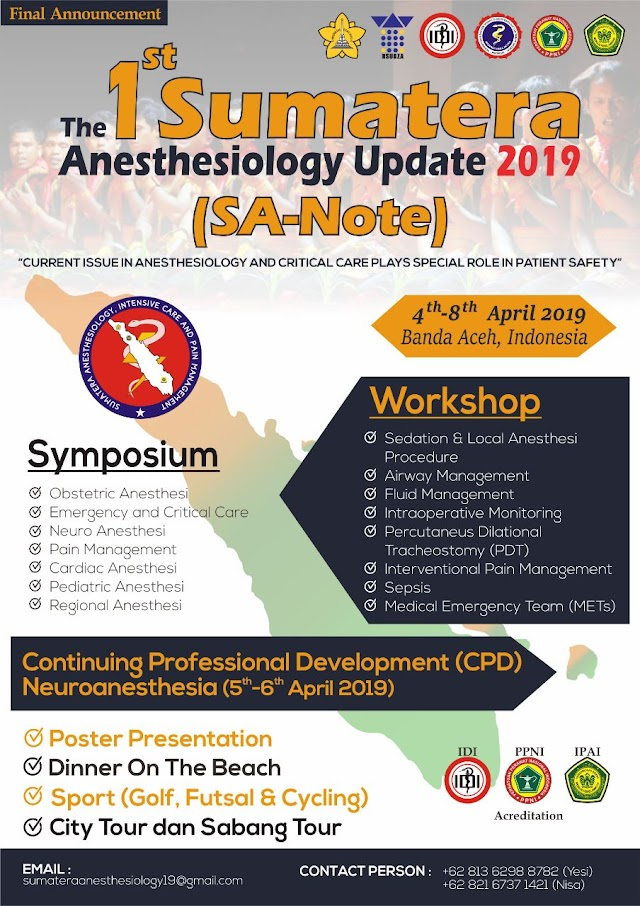 The 1st Sumatera Anethesiology Update 2019 Banda Aceh (5-6 April 2019)