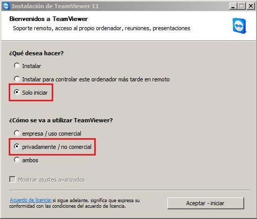 ¿Cómo se va a utilizar TeamViewer? privadamente/no comercial.