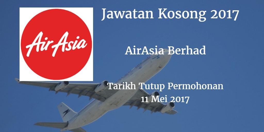 Jawatan Kosong AirAsia Berhad 11 Mei 2017