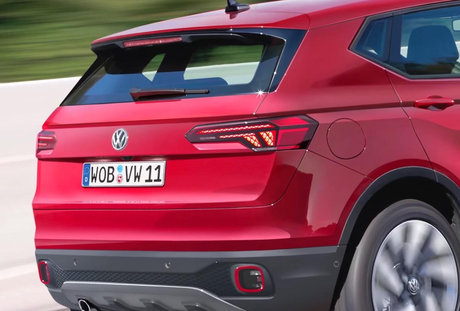 foto dettaglio volkswagen t-cross vista posteriore colore rosso