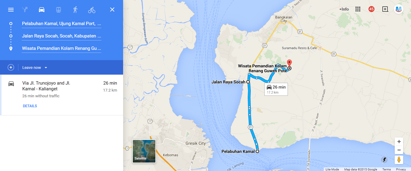 https://www.google.co.id/maps/dir/Pelabuhan+Kamal,+Bangkalan+Sub-District,+East+Java/Jalan+Raya+Socah,+Socah,+Kabupaten+Bangkalan,+Jawa+Timur+69161/Wisata+Pemandian+Kolam+Renang+Guweh+Pote,+Jaddih,+Socah,+Kabupaten+Bangkalan,+Jawa+Timur/@-7.1001785,112.7336724,13z/data=!4m11!4m10!1m2!1m1!1s0x2dd8021b82f9cca1:0x1b91ec913ffec135!1m2!1m1!1s0x2dd806a645a37517:0xa95e54872835eb06!1m2!1m1!1s0x2dd8045ec63038ad:0x33e8652ea5f91037!3e0