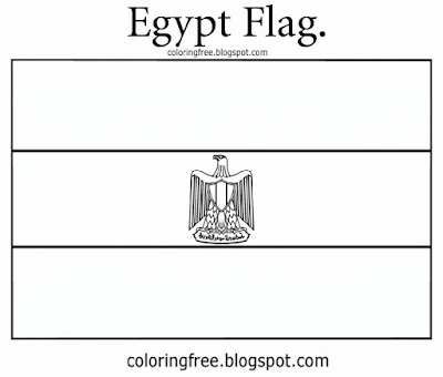 Printable clipart Egyptian flag image country of Egypt coloring in pages for young people to draw on