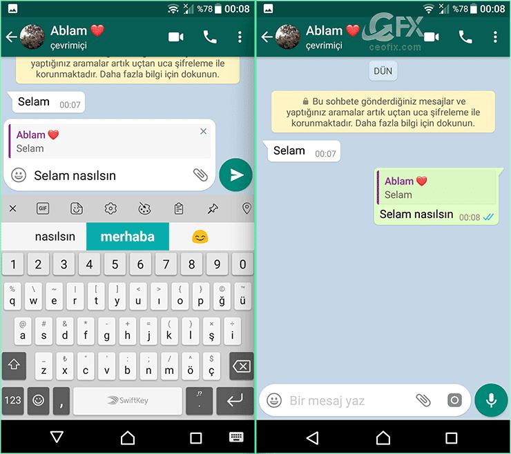 Whatsapp: Yanıtlamak için kaydırın özelliği-www.ceofix.com