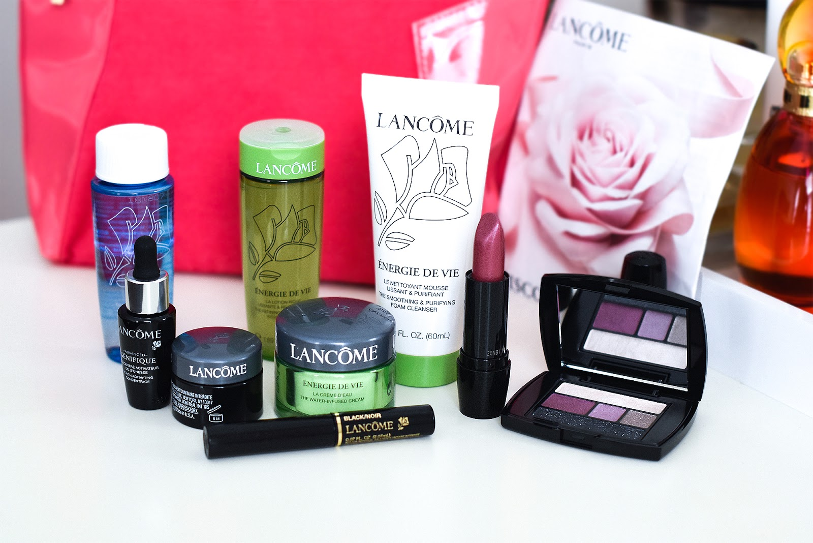 Lancome Cosmetic Bag Advanced Genifique Youth Activating Concentrate Definicils Mascara (this is one of my favorite mascaras) Bi-Facial Eye Makeup Remover Energie de Vie Day Cream Eyeshadow Palette Lipstick Genifique Yeux Youth Activating Eye Concentrate Energie De Vie Cleanser & Toner