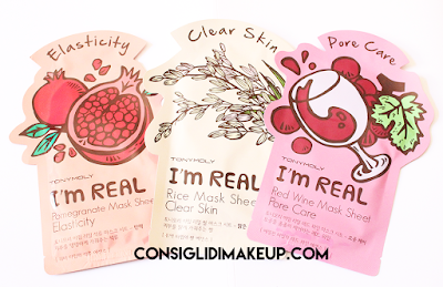 Review: Maschere in tessuto I'm Real [Melograno-Riso-Vino] - Tonymoly