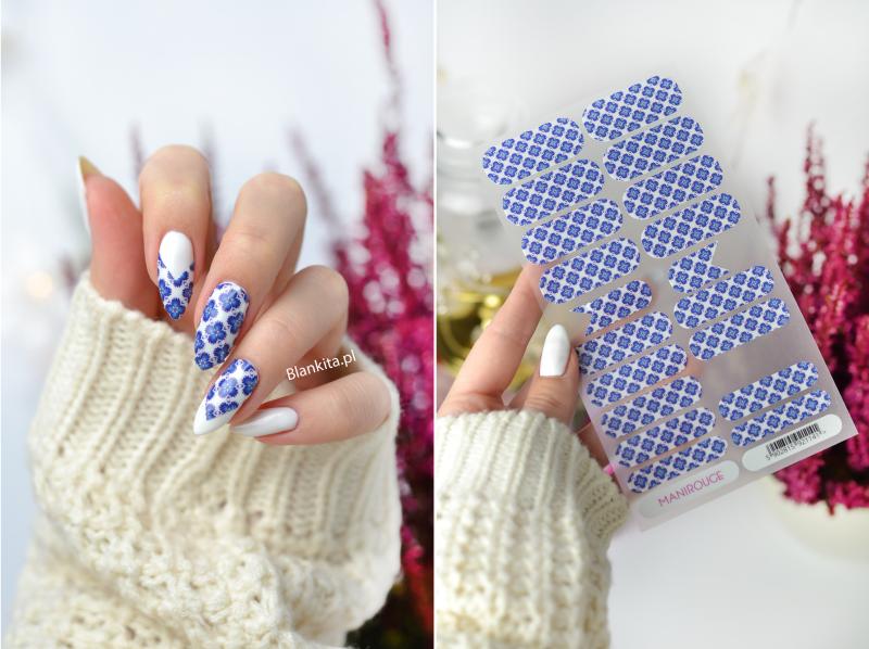 naklejki na paznokcie, naklejki termiczne, corinne, manirouge corinne, na ciepło, niebieskie kwiaty manirouge