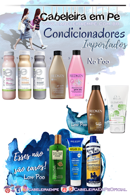 No Poo e Low Poo Lista de Condicionadores Importados - Matrix Biolage, Redken, Wella, Thicker Fuller Hair, Marc Anthony e Mane'n Tail