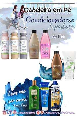No Poo e Low Poo Lista de Condicionadores Importados - Matrix Biolage, Redken, Wella, Thicker Fuller Hair, Marc Anthony e Mane'n Tail