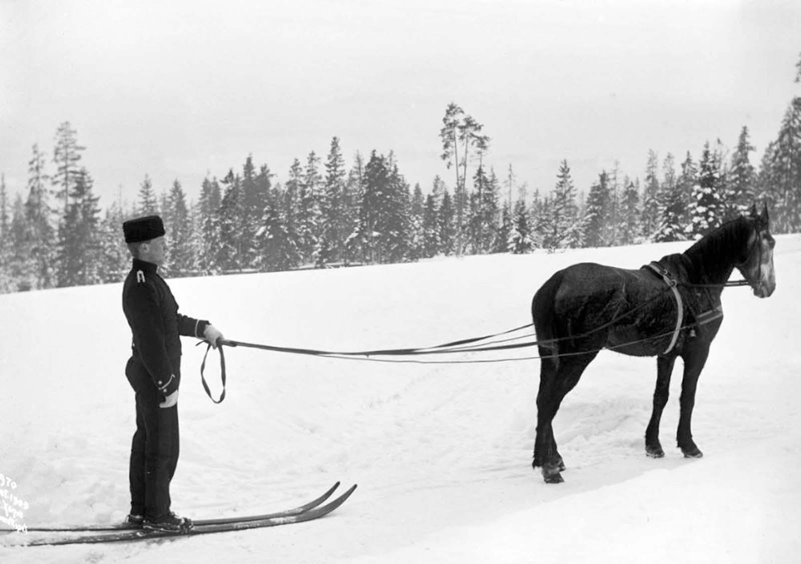 Skijoring in Norway. 1903.